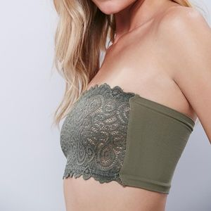 Free People Intimately Faded Army Lace Bandeau Bra